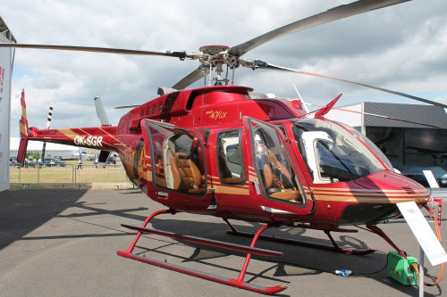 And so it was for the vertical flight industry as well,maroon colors and VIP configuration of Czech customer King's Casino, replaced a 407GX that the casino previously operated, and which was on static display four years earlier at Farnborough 2014Bell 407GX for Czech Republic. Photo by Ian Frain.