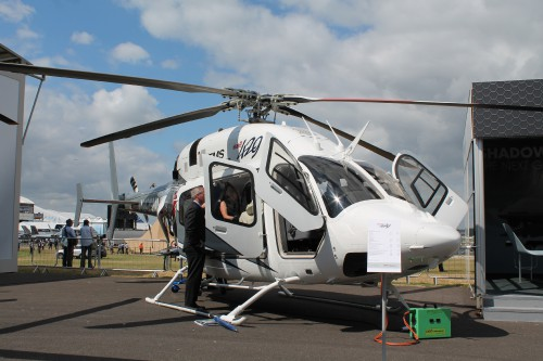Bell displayed a 429 for Czech customer King's Casino (shown) as well as one of the first 505s in the UK. Bell 429 EMS. Photo by Ian Frain.