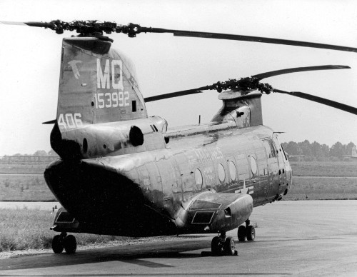 "This photo was taken by Ken Bartie in the late 1970s. Here is a vintage U.S. Marine Corps/Boeing Vertol CH-46E Sea Knight from Marine Medium Helicopter Squadron 774 (HMM-774) ""Wild Goose"" based at Naval Station Norfolk rests on the ramp at Naval Air Station Joint Reserve Base Willow Grove, Willow Grove, Pennsylvania.  Joint second-place awardee in the 2018 AHS Photo Contest in the category of ""The Past of Vertical Flight""."