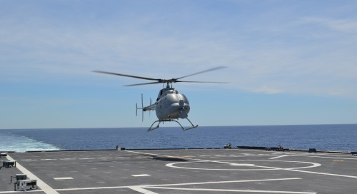 MQ-8C Firescout takes a Bell 407 and turns it into a unmanned ISR platform for the US Navy. This can be deployable from sea or land, but designed to land on a moving ship.  Photo submitted by Steve Berroth.