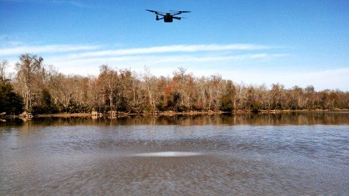 A multirotor developed by the Georgia Tech UAV Research Facility is mapping a river for the Office of Naval Research at NASA's Stennis Space Center. Photo submited by Dmitry Bershadsky.