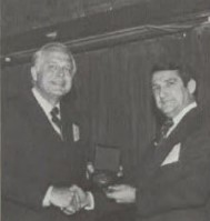 """Grover E. Bell Award 1976, at Forum-32, given to ABC Team- the Sikorsky Aircraft Div. of United Technologies Corp.for the development of the advancing blade concept research helicopter. The success of this concept opens the potential of applying lifting rotors to much higher speeds and load factors than has been heretofore possible. """" The award was accepted on behalf of the ABC Team by President Gerald J. Tobias."""