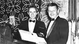 Grover E. Bell Award 1962 at annual Forum-18, won by Sikorsky Aircraft Engineering Team for development of the HSS-2 which claimed four world speed records for the United States.  Carlos C. Wood, Manager, Sikorsky Engineering, accepted the award.