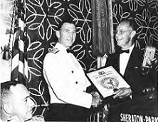 Captain William J. Kossler Award at Forum-18, 1962,  won by Military Air Transport Service- MATS, US Air Force for saving the lives of hundreds of airmen and civilians in the year 1961. Brig. Gen. Joseph A. Cunningham, (left) accepted the award.