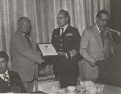 Captain William J. Kossler Award, 1978 at Forum-34, was presented to British Airways Helicopters for the daring rescue of eight crewmen from the trawler Elinor Viking, which was disabled off the cost of Sumburgh in the Shetland Islands, by the BAH crew, Captain George Bain, commander, Captain Campbell Bosanquet, copilot; Brian Johnston, winch operator; and Captain Alistair Campbell, winchman.  Award was received by Captain John A. Cameron, Managing Director of British Airways Helicopters.