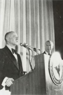 Honorary Fellowship presented to Leon L. Douglas at Forum 35 Awards, 1979.  Mr Douglas addressing the gathering and Mr Bart Kelley looking on.   Forum 35, May 21-23, 1979, Washington, D.C. USA