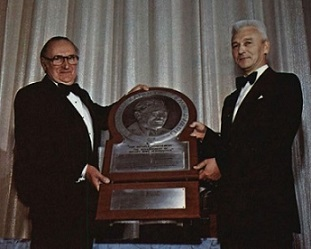 Dr. Alexander Klemin Award presented to Rene Mouille at Forum 35 awards Luncheon, 1979. Forum 35, May 21-23, 1979, Washington, D.C. USA