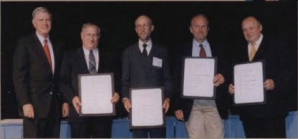 AHS Technical Fellowship awarded to (l to r) Samual R. Hurt, Boeing Co. (represented by Marc Sheffler); David L. Key, US Army (Ret.); Dr. William Warmbrodt, US Army (represented by Ed Aiken); and Dr. Sergie Mikheyev, president and general designer Kamov Company, for their work on behalf of the vertical flight community, at annual Forum 58, 2002. Forum 58, June 11-13, 2002, Montréal, Québec Canada