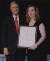 Francois-Xavier Bagnoud Award presented to Dr. Catherine Ferrie, Research Project Engineer, Bell Helicopter Textron, Inc., for her acumen in probabilistic methods, working in cutting edge probabilistic concepts and composite fracture mechanics, at Forum 58 Awards, 2002. Forum 58, June 11-13, 2002, Montréal, Québec Canada