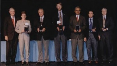 Howard Hughes award presented to NASA Tiltrotor Aeroacoustic Code Team -TRAC Team, NASA, at annual Forum 58 Awards, 2002, for completing a successful eight year effort to develop and validate the tiltrotor aeroacoustic code. Forum 58, June 11-13, 2002, Montréal, Québec Canada