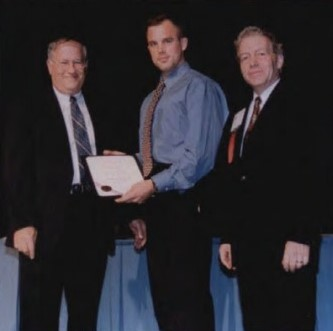 """Robert L. Lichten Award at Forum 58, 2002, awarded to Geoffrey Jeram, Georgia Institute of Technology, for his paper entitled, """"Open Design for Helicopter Active Control Systems.""""  Forum 58, June 11-13, 2002, Montréal, Québec Canada"""