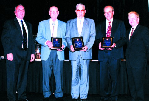 Honored to the Crash Safety pioneers at annual AHS Forum 59 Awards, 2003, for their significant contributions to vertical flight achievements of Society.  Forum 59, May 6-8, 2003, Phoenix, Arizona USA