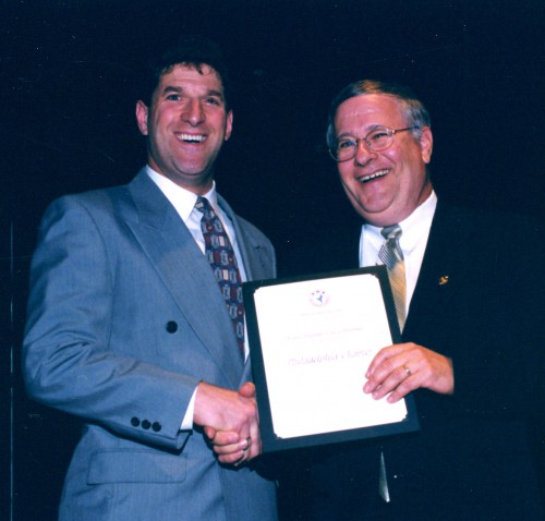 Every Member Get A Member Contest, 2003, won by AHS Philadelphia Chapter at annual Forum 59 Awards. Award accepted by Daniel Newman, immediate past president of chapter.  Forum 59, May 6-8, 2003, Phoenix, Arizona USA
