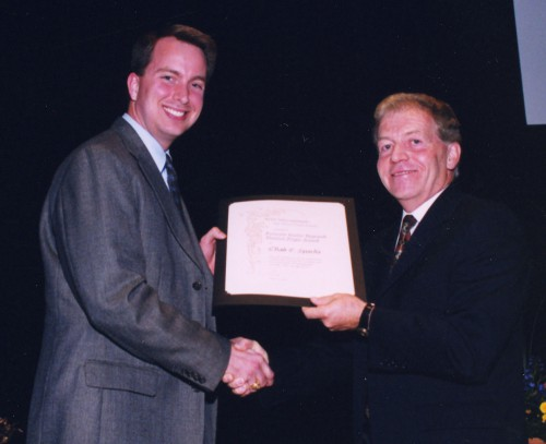 Francois-Xavier Bagnoud Award presented to Chad Sparks, Bell Helicopter Textron, Inc., on his efforts to assess the survivability of the Marine Corps AH-1 Attack and the UH-1 Utility Helicopters, at annual Forum 59 Awards, 2003.  Forum 59, May 6-8, 2003, Phoenix, Arizona USA