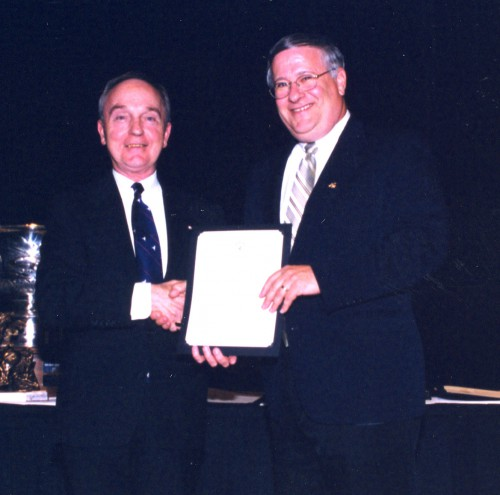 Chapter Percent Increase Contest 2003 at annual Forum 59 awards, presented to AHS Patuxent River Chapter for greatest percent increase in members during past year. Award accepted by John McKeown of Patuxent River Chapter.  Forum 59, May 6-8, 2003, Phoenix, Arizona USA