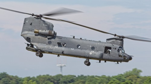 Dutch Boeing CH-47F Chinook taking off from Gilze-Rijen AFB to start the exercise. Photo taken during the Air-centric Personnel Recovery Operatives' Course (APROC) exercise, held near the Dutch Main Operating Base of Gilze-Rijen near Breda in the Netherlands. See Vertiflite, Sept/Oct 2018 for more information on APROC 2018. (Photo CC-BY-SA by Anno Gravemaker for VFS)