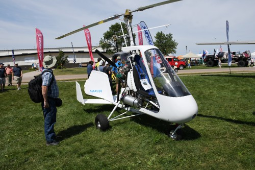 SportCopter Vortex M912 gyroplane at EAA AirVenture, Oshkosh, Wisconsin, USA. VFS photo by Kenneth I Swartz, July 25, 2018. CC-BY-SA 4.0.