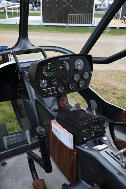 Rotorvox Gyrocopter cockpit at Oshkosh 2018 at EAA AirVenture in Oshkosh, Wisconsin, USA. VFS photo by Kenneth I Swartz, July 27, 2018. CC-BY-SA 4.0.