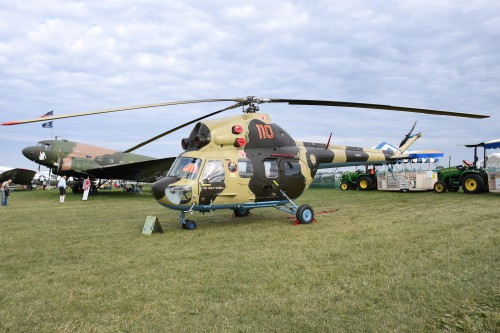 A Mil Mi-2 from the University of Iowa at EAA AirVenture, Oshkosh, Wisconsin. http://registry.faa.gov/aircraftinquiry/NNum_Results.aspx?NNumbertxt=110PL.VFS photo by Kenneth I Swartz, July 25, 2018. CC-BY-SA 4.0.