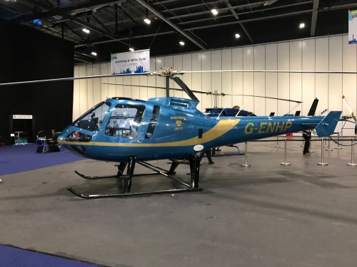 Enstrom 480B (G-ENHP) at Helitech 2017.  Image donated to VFS (CC BY-SA 4.0).
