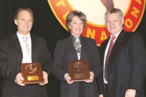 The Frederick L. Feinberg Award 2008 at annual Forum 64 Awards, presented to Jennifer Murray and Colin Bodill on their world record-setting accomplishment by circumnavigating the earth via the south and north poles in a Bell 407 helicopter.  Mr. Dunford (right) congratulating Ms. Murray and Mr. Bodill in photo.  Forum 64, April 29-May 1, 2008, Montréal, Québec Canada