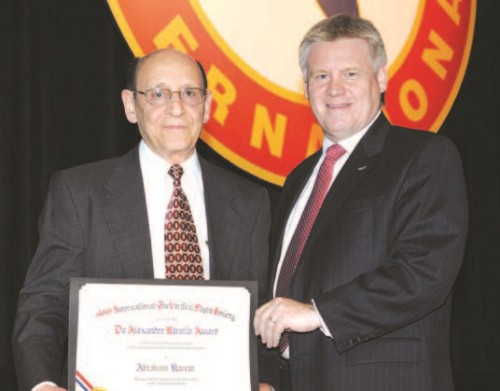 Dr. Alexander Klemin Award 2008, at annual Forum 64 awards received by Mr. Abraham  Karem, who has devoted his 50-year career in aeronautics to promoting revolutionary innovations such as the A160 Hummingbird.  Mr. Dunford (right) presents this prestigious certificate to Mr. Karem.  Forum 64, April 29-May 1, 2008, Montréal, Québec Canada