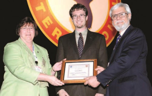 "NASA Robert L. Lichten Internship Award presented to Conor Marr, a graduate student at the Pennsylvania State University for his paper,""Nonlinear, Temperature Dependent, Fluidlastic Lead-lag Damper Modeling,"" at annual Forum 64 awards, 2008.  Susan A. Gorton, NASA Langley Research Center (left) and John M. Davis, AHS Technical Director congratulate Conor Marr at this achievement.  Forum 64, April 29-May 1, 2008, Montréal, Québec Canada"