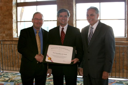 Special Recognition Award presented to Joe Sestak, US House of Representatives, at annual Forum 65 Awards, 2009, for outstanding service in 2008 to the Helicopter Society.  Forum 65, May 27-29, 2009, Grapevine, Texas USA