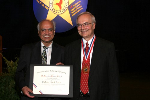 At annual Forum 65 Awards, 2009, picture showing two winners together - Klemin Awardee Professor Inderjit Chopra and Nikolsky Lectureship Awardee Dr. Fredric H. Schmitz.  Forum 65, May 27-29, 2009, Grapevine, Texas USA
