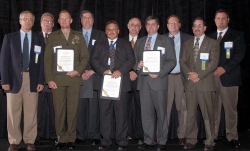 The Grover E. Bell Award at annual Forum 60, 2004, awarded to the MV-22 Integrated Test Team comprised of Bell Helicopter Textron Inc., Dyncorp, NAVAIR, Rolls-Royce, The Boeing Company, and US Marine Corps.   Forum 60, June 7-10, 2004, Baltimore, Maryland USA