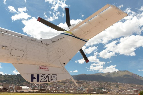 The Airbus H215 basks in a successful Latin American Demotour after 4-weeks and almost 140 hours after starting it's demonstration tour, having earned kudos among participating customers.  Tail rotor of H215 in picture
