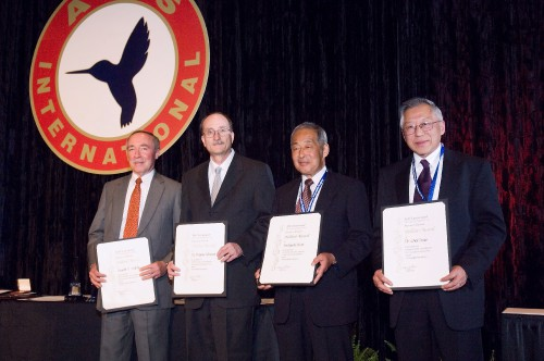 AHS Technical Fellow Awards at annual Forum 62, 2006, presented to Donald S. Anttila, Sikorsky Aircraft Corp.; Dr. Wayne Johnson, NASA Ames Research Center; Yoshiyuki Niwa, Mitsubishi Heavy Industry Ltd.; and Dr. Chee Tung, US Army Aeroflightdynamics Directorate, for their work on behalf of the vertical flight industry.  Forum 62, May 9-11, 2006, Phoenix, Arizona USA