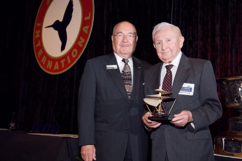 The John J. Schneider Historical Achievement Award 2006 at annual Forum 62 Awards presented to Harry Hleva and the Igor I. Sikorsky Historical Archives.  Accepting the award are Sergei Sikorsky and Harry Hleva.  Since 1994, Hleva and this hard working volunteer group has inventoried more than 400,000 historical aviation documents, 150,000 original aviation photographs and negatives, and more than 5,000 engineering drawings.  Forum 62, May 9-11, 2006, Phoenix, Arizona USA