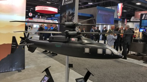Sikorsky-Boeing SB>1 Defiant 1/10th-scale model at AUSA 2018. (Oct. 8 VFS photo. CC-BY-SA 4.0)