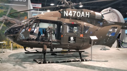 Proposed Airbus H145M armed and upgraded version of the US Army Lakota UH-72A at AUSA 2018. (Oct. 10 VFS photo. CC-BY-SA 4.0)