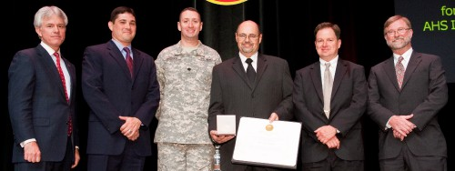 The Grover E. Bell Award 2010 at annual Forum 66 awards presented to 3D-LZ Team, comprised of engineers and pilots from the US Air Force, H.N. Burns Engineering Corporation, the US Army, The US Marine Corps, L-3 Vertex, University of California at Santa Cruz and Infoscitex.  The Team Assimilated and tested the various 3D-LZ system components on the test helicopter, and then performed a safe and thorough assessment of the technology in complete brown-out conditions.  Forum 66, May 11-13, 2010, Phoenix, Arizona USA