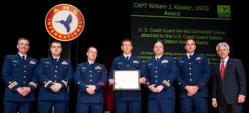The Captain William J. Kossler, USCG Award 2010, at annual Forum 66 Awards, presented to US Coast Guard Station/Air Station Kodiak, Alaska, for their outstanding efforts on January 4th, 2009 in the rescue of two men from the fishing vessel American Way which went aground on Aghiyuk Island, Alaska.   Forum 66, May 11-13, 2010, Phoenix, Arizona USA