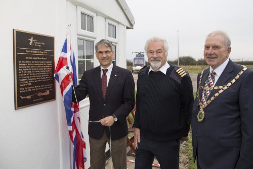 From left to right: Mike Hirschberg, VFS Executive Director; Elfan ap Rees, Helicopter Museum Founder and Chair; and David Jolley, Chairman of North Somerset Council.