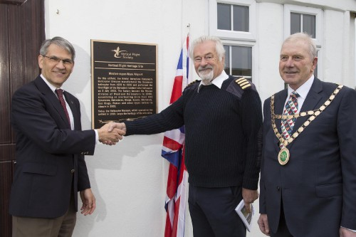 At a ceremony on Nov. 15, 2018, the Vertical Flight Society officially recognized Weston Airport, Weston-super-Mare in Somerset, UK, as a VFS Vertical Flight Heritage Site. From left to right: Mike Hirschberg, VFS Executive Director; Elfan ap Rees, Helicopter Museum Founder and Chair; and David Jolley, Chairman of North Somerset Council.  More info at www.vtol.org/heritage.