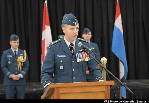 """Lt General Al Meinzinger, Royal Canadian Air Force, at Victoria International Airport (YYJ) at the RCAF Sea King retirement ceremony on Dec. 1, 2018.  For more on the history of the Canadian Sea King and the retirement, see """"A Royal Send Off for the Canadian Sea King,"""" Vertiflite, Jan/Feb 2019. (VFS Photo by Kenneth I Swartz. CC-BY-SA 4.0)"""