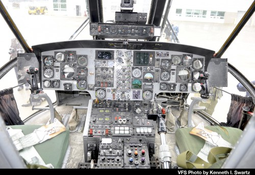 "Cockpit of Sikorsky CH-124B tail number 12417 of the Royal Canadian Air Force at Victoria International Airport (YYJ) at the RCAF Sea King retirement ceremony on Dec. 1, 2018. This aircraft was one of the aircraft modified in the early 1990s with the dipping sonar removed and some systems originally developed for the (later cancelled) EH101 installed. For the retirement ceremony, it was repainted in 1960s Royal Canadian Navy colors (as 4017) which were the markings carried by Sea Kings prior to the unification of the Canadian Forces in 1968. For more on the history of the Canadian Sea King and the retirement, see ""A Royal Send Off for the Canadian Sea King,"" Vertiflite, Jan/Feb 2019. (VFS Photo by Kenneth I Swartz. CC-BY-SA 4.0)"