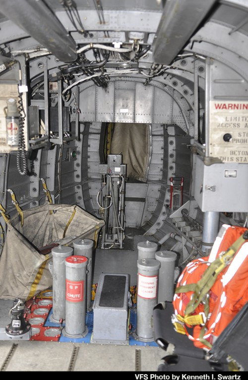 "Rear cabin looking backward of Sikorsky CH-124B (tail number 12417) of the Royal Canadian Air Force at Victoria International Airport (YYJ) at the RCAF Sea King retirement ceremony on Dec. 1, 2018. This aircraft was one of the aircraft modified in the early 1990s with the dipping sonar removed and some systems originally developed for the (later cancelled) EH101 installed. For the retirement ceremony, it was repainted in 1960s Royal Canadian Navy colors (as 4017) which were the markings carried by Sea Kings prior to the unification of the Canadian Forces in 1968. For more on the history of the Canadian Sea King and the retirement, see ""A Royal Send Off for the Canadian Sea King,"" Vertiflite, Jan/Feb 2019. (VFS Photo by Kenneth I Swartz. CC-BY-SA 4.0)"