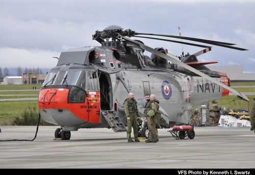 "Sikorsky CH-124B tail number 12417 of the Royal Canadian Air Force at Victoria International Airport (YYJ) at the RCAF Sea King retirement ceremony on Dec. 1, 2018. CH-124B 12417 was repainted in 1960s Royal Canadian Navy colors (as 4017) which was the markings carried by Sea Kings prior to the unification of the Canadian Forces in 1968. For more on the history of the Canadian Sea King and the retirement, see ""A Royal Send Off for the Canadian Sea King,"" Vertiflite, Jan/Feb 2019. (VFS Photo by Kenneth I Swartz. CC-BY-SA 4.0)"
