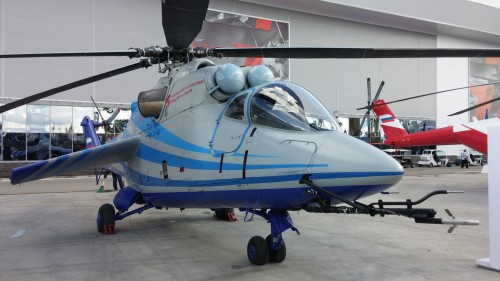"Mi-24LL flying laboratory built to test the TsAGI high-speed rotor system for the canceled PSV (Perspektivny Skorostnoy Vertolyot or ""Advanced High-Speed Helicopter"") program. The aircraft was on display at the ARMY 2016 expo in Moscow, Sept. 6, 2016. (Photo by Grigoriy Omelchenko. CC-BY-SA 4.0)"