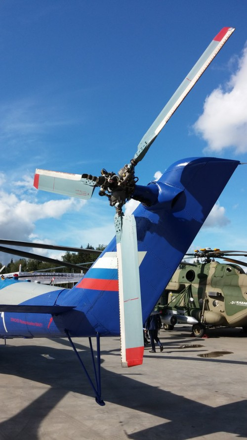 "Mil Mi-24LL flying laboratory built to test the TsAGI high-speed rotor system for the canceled PSV (Perspektivny Skorostnoy Vertolyot or ""Advanced High-Speed Helicopter"") program. The aircraft was on display at the ARMY 2016 expo in Moscow, Sept. 6, 2016. (Photo by Grigoriy Omelchenko. CC-BY-SA 4.0)"
