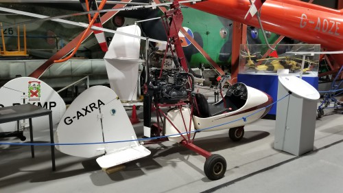 Campbell Cricket (G-AXRA). The tail of the Museum's other Cricket (G-BYMP) can also be seen. VFS photo taken at the Helicopter Museum, Weston-super-Mare, UK, Nov. 15, 2018. (CC-BY-SA 4.0)