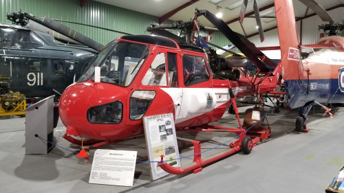 Westland Scout AH1 (XP165); the model was originally developed by Saunders Roe as Project 531 prior to the company's merger with Westland in 1959. VFS photo taken at the Helicopter Museum, Weston-super-Mare, UK, Nov. 15, 2018. (CC-BY-SA 4.0)