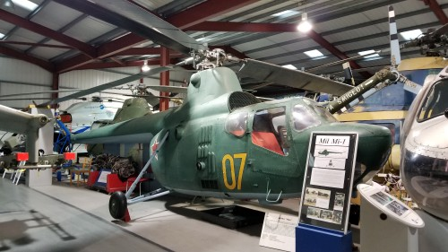 This Mil Mi-1 was the first Russian production helicopter. This aircraft is a Polish-built SM-1 variant, completed by PZL-Swidnik, Poland in 1959. VFS photo taken at the Helicopter Museum, Weston-super-Mare, UK, Nov. 15, 2018. (CC-BY-SA 4.0)