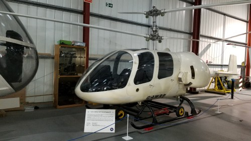 Cierva Rotorcraft Grasshopper III coaxial helicopter (G-AWRP). VFS photo taken at the Helicopter Museum, Weston-super-Mare, UK, Nov. 15, 2018. (CC-BY-SA 4.0)