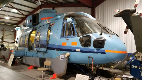 The third prototype (PP3) of the EH Industries EH101 (G-EHIL) was the first civil-configured prototype. More on PP3 at http://www.helicoptermuseum.co.uk/europe.htm. VFS photo taken at the Helicopter Museum, Weston-super-Mare, UK, Nov. 15, 2018. (CC-BY-SA 4.0)